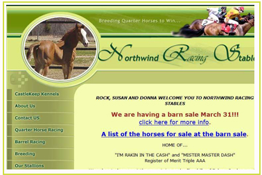 Northwind Racing Stables - Breeding for Quarter Horse Racing and Barrel Racing